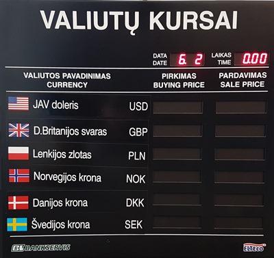 Valiutų kursų švieslentė ELTECOTK2076