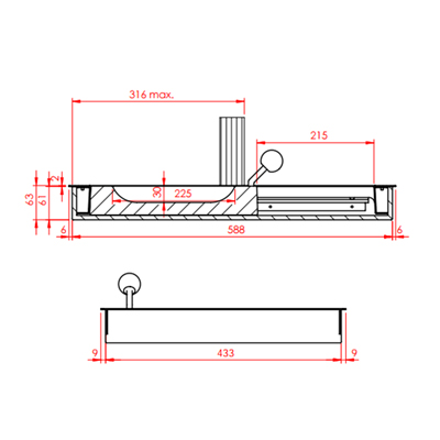 sliding tray, modelB30S